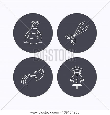 Scissors, watering can and watering can icons. Bag of fertilizer linear sign. Flat icons in circle buttons on white background. Vector