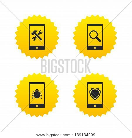 Smartphone icons. Shield protection, repair, software bug signs. Search in phone. Hammer with wrench service symbol. Yellow stars labels with flat icons. Vector
