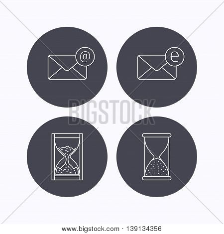 Mail, e-mail and hourglass icons. E-mail inbox linear sign. Flat icons in circle buttons on white background. Vector
