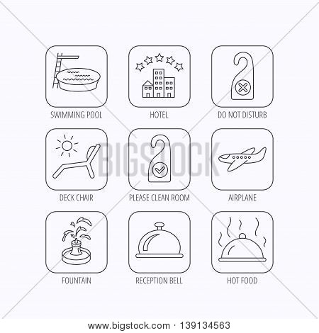 Hotel, swimming pool and beach deck chair icons. Reception bell, restaurant food and airplane linear signs. Do not disturb and clean room flat line icons. Flat linear icons in squares on white background. Vector