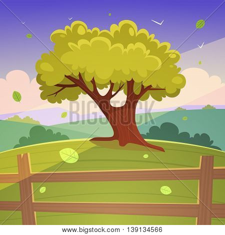 Cartoon illustration of the tree on hill with wooden fence, summer landscape.