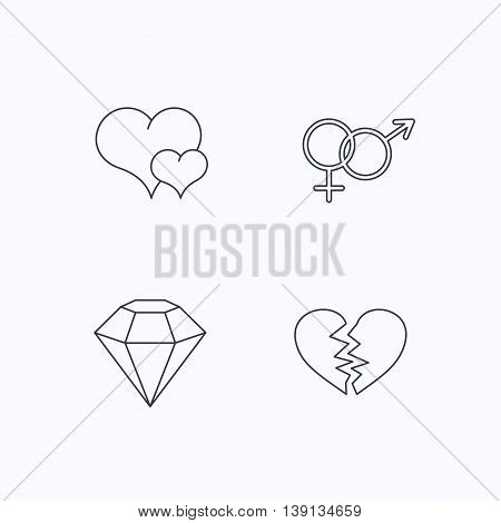 Love heart, brilliant diamond and male, female icons. Broken heart or divorce linear sign. Flat linear icons on white background. Vector