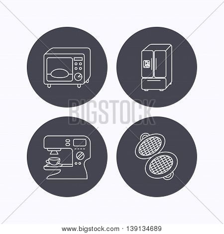 Microwave oven, waffle-iron and American style fridge icons. Coffee maker linear sign. Flat icons in circle buttons on white background. Vector