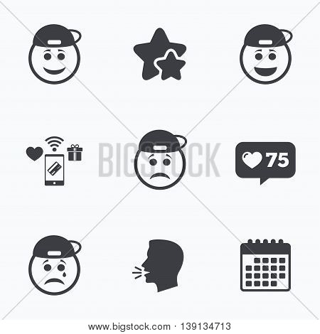 Rapper smile face icons. Happy, sad, cry signs. Happy smiley chat symbol. Sadness depression and crying signs. Flat talking head, calendar icons. Stars, like counter icons. Vector