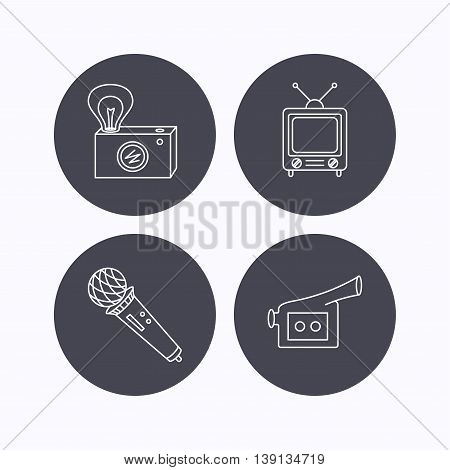 Photo, video camera and microphone icons. Vintage TV linear sign. Flat icons in circle buttons on white background. Vector