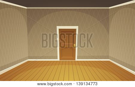 Cartoon illustration of empty, brown retro style room.