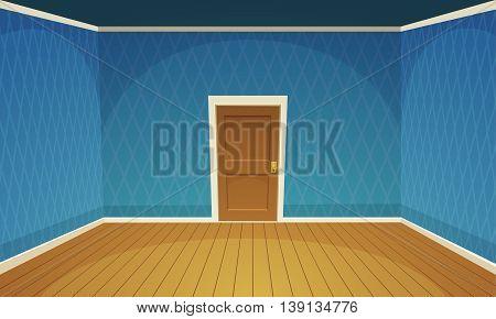 Cartoon illustration of empty, blue retro style room.