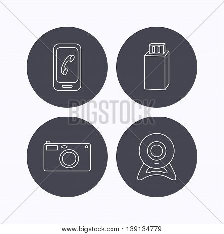 Photo camera, mobile phone and Usb flash icons. Web camera linear sign. Flat icons in circle buttons on white background. Vector