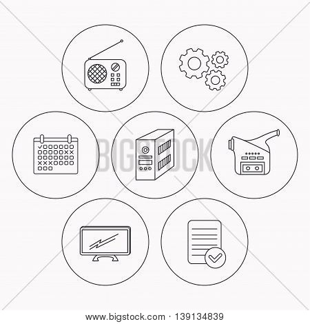 Radio, TV and video camera icons. PC case linear sign. Check file, calendar and cogwheel icons. Vector