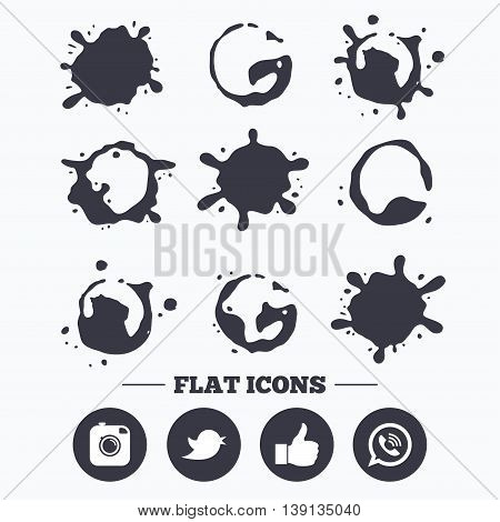 Paint, coffee or milk splash blots. Hipster photo camera icon. Like and Call speech bubble sign. Bird symbol. Social media icons. Smudges splashes drops. Vector
