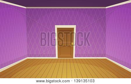 Cartoon illustration of empty, purple retro style room.