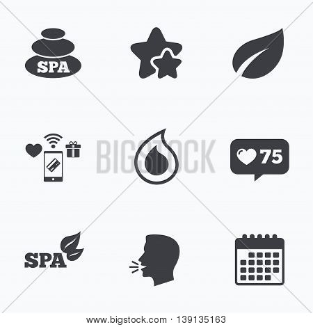 Spa stones icons. Water drop with leaf symbols. Natural tear sign. Flat talking head, calendar icons. Stars, like counter icons. Vector