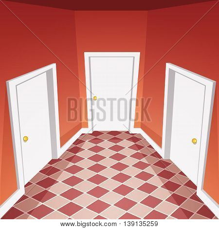 Cartoon vector illustration of the house hallway.