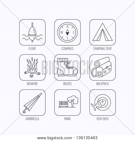Park, fishing float and hiking boots icons. Compass, umbrella and bonfire linear signs. Camping tent, fish dish and tree icons. Flat linear icons in squares on white background. Vector