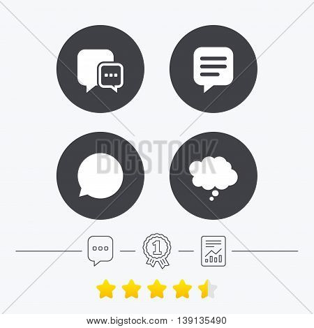 Chat icons. Comic speech bubble signs. Communication think symbol. Chat, award medal and report linear icons. Star vote ranking. Vector