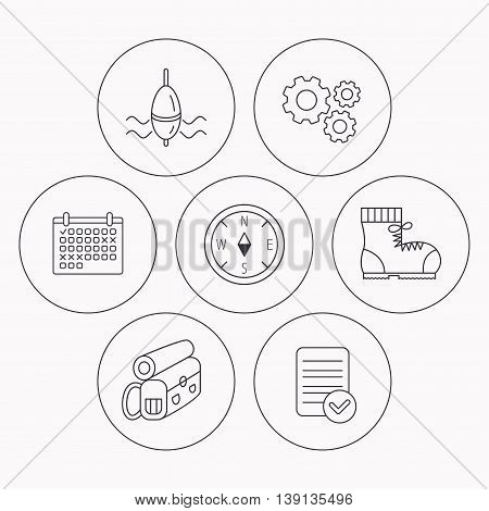 Compass, fishing float and hiking boots icons. Backpack linear sign. Check file, calendar and cogwheel icons. Vector
