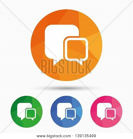 Chat sign icon. Speech bubbles symbol. Communication chat bubbles. Triangular low poly button with flat icon. Vector