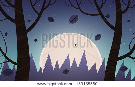 Cartoon illustration of night rural landscape with moon in background.