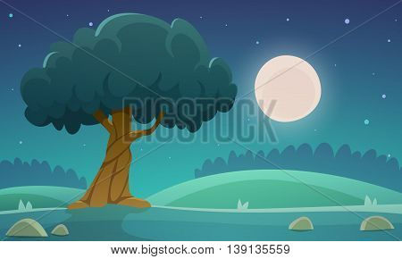 Night at meadow with tree, countryside cartoon landscape illustration.