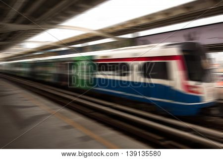 background of the high-speed sky train with motion blur outdoor