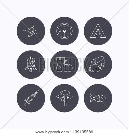 Pine tree, fishing float and hiking boots icons. Compass, umbrella and bonfire linear signs. Camping tent, fish and backpack icons. Flat icons in circle buttons on white background. Vector