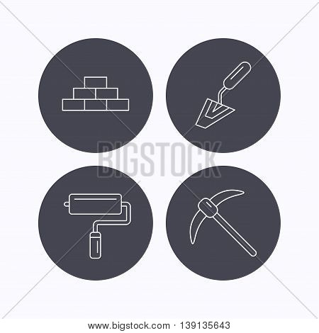 Brickwork, spatula and mining icons. Paint roller linear sign. Flat icons in circle buttons on white background. Vector