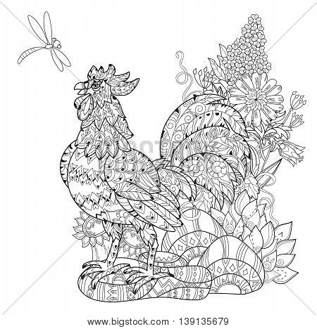 Rooster, Cock. Symbol of Chinese new year zodiac 2017. Hand drawn doodle zen art.Adult anti stress coloring book or tattoo