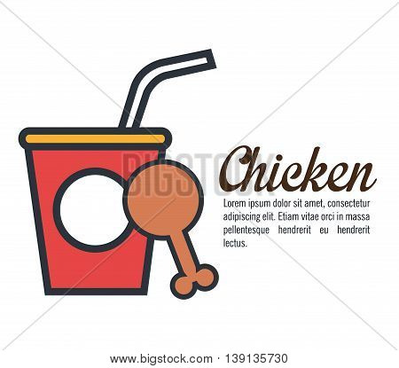 hot chicken meat with soda  isolated icon design, vector illustration  graphic