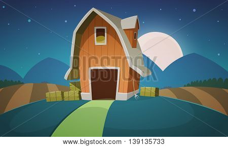 Night Mountain countryside landscape with red farm barn, cartoon vector illustration.