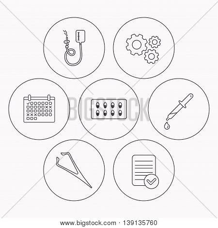 Drop counter, capsules and pipette icons. Eyebrow tweezers linear sign. Check file, calendar and cogwheel icons. Vector