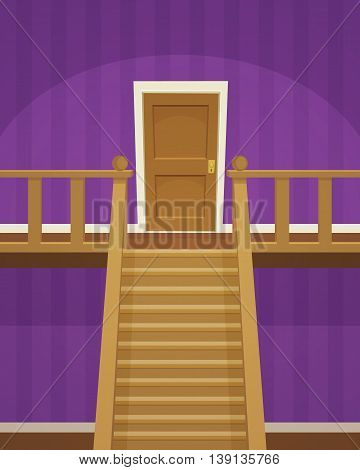 The purple room with doors and stairs.