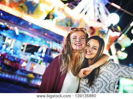 Friends Hangout Carnival Huddle Fun Smiling Concept