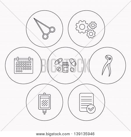 Medical pills, blood and dental pliers icons. Peans forceps linear sign. Check file, calendar and cogwheel icons. Vector