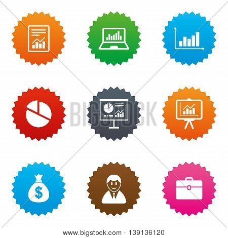 Statistics, accounting icons. Charts, presentation and pie chart signs. Analysis, report and business case symbols. Stars label button with flat icons. Vector