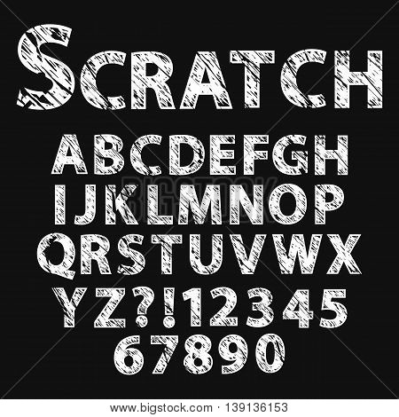 Scratched grunge font.Grunge alphabet set with numbers, vector illustration.