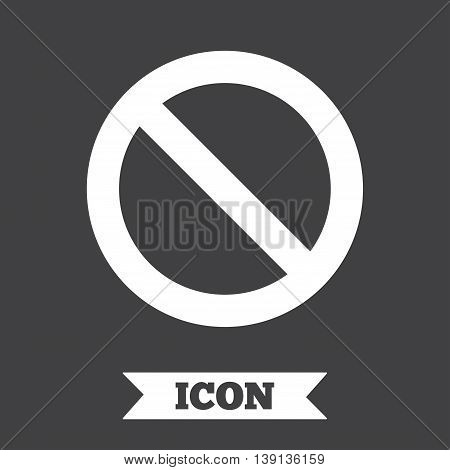 Stop sign icon. Prohibition symbol. No sign. Graphic design element. Flat stop symbol on dark background. Vector