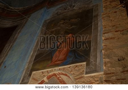 VELIKY NOVGOROD RUSSIA-JULY 15 2016. Decorative architecture elements - paintings of Bible scenes on the walls of St Nicholas Cathedral Yaroslav Courtyard. Soft filter applied