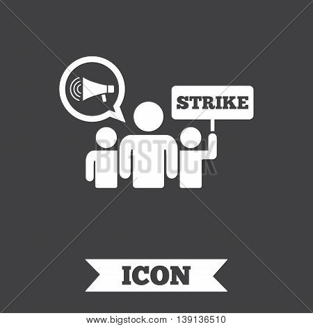 Strike sign icon. Group of people symbol. Industrial action. Holding protest banner and megaphone. Graphic design element. Flat strike symbol on dark background. Vector