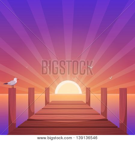 Cartoon illustration of the wooden pier with seagull at sunset time.