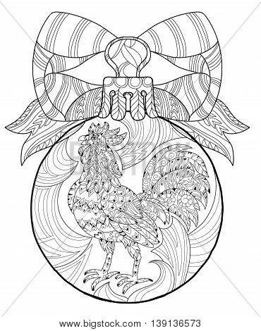 Rooster, Cock in christmas glass ball. Symbol of Chinese new year zodiac 2017. Hand drawn doodle zen art.Adult anti stress coloring book or tattoo