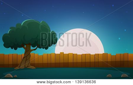 Cartoon illustration of the wooden fence with tree and moon in background.