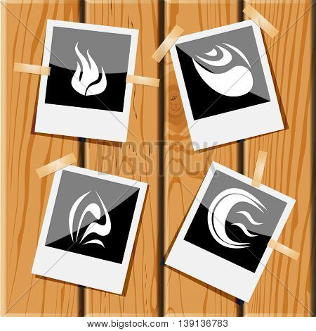 4 images of unique abstract forms. Photo frames on wooden desk. Vector icons set.