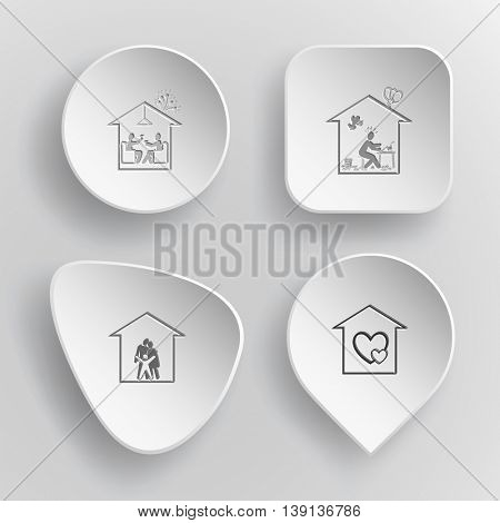 4 images: home celebration, inspiration, family, orphanage. Home set. White concave buttons on gray background. Vector icons.