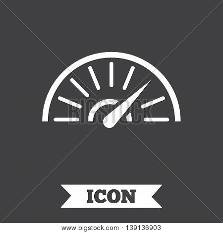 Tachometer sign icon. Revolution-counter symbol. Car speedometer performance. Graphic design element. Flat speed symbol on dark background. Vector