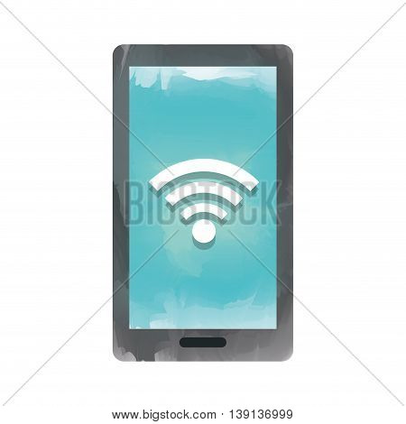 smartphone with signal wifi isolated icon design, vector illustration  graphic