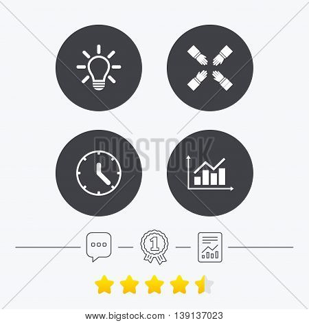 Lamp idea and clock time icons. Graph chart diagram sign. Teamwork symbol. Chat, award medal and report linear icons. Star vote ranking. Vector
