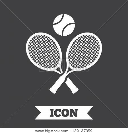 Tennis rackets with ball sign icon. Sport symbol. Graphic design element. Flat tennis rackets symbol on dark background. Vector