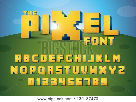 Vector of pixelated font and alphabet