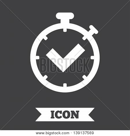Timer sign icon. Check stopwatch symbol. Graphic design element. Flat timer check symbol on dark background. Vector