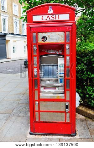 Historic Red Phone Box As Cash Machine, London, Uk